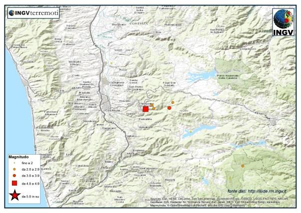 La mappa degli eventi registrati in Provincia di Cosenza tra