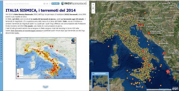 L'interfaccia del MAP JOURNAL della sismicità del 2014 che permette di integrare le mappe interattive degli eventi sismici all'interno degli articoli che mese dopo mese hanno hanno descritto la sismicità del 2014.