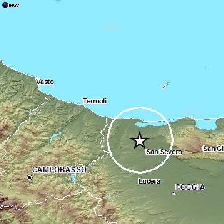 Evento sismico in provincia di Foggia, Ml 3.9, 16 aprile ore 13.34