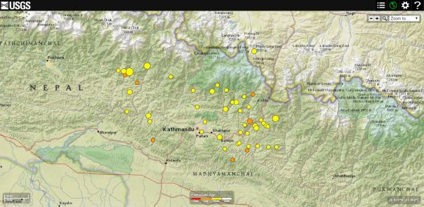 Distribuzione degli aftershock (agg.to 26/4 ore 17 UTC; fonte: USGS)