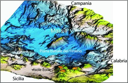 Figura 1. Batimetria tridimensionale del Tirreno Meridionale e localizzazione del vulcano Marsili