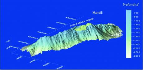 Figura 2. Modello digitale del vulcano Marsili, la cui lunghezza è di circa 70 km e la larghezza di circa 30 km