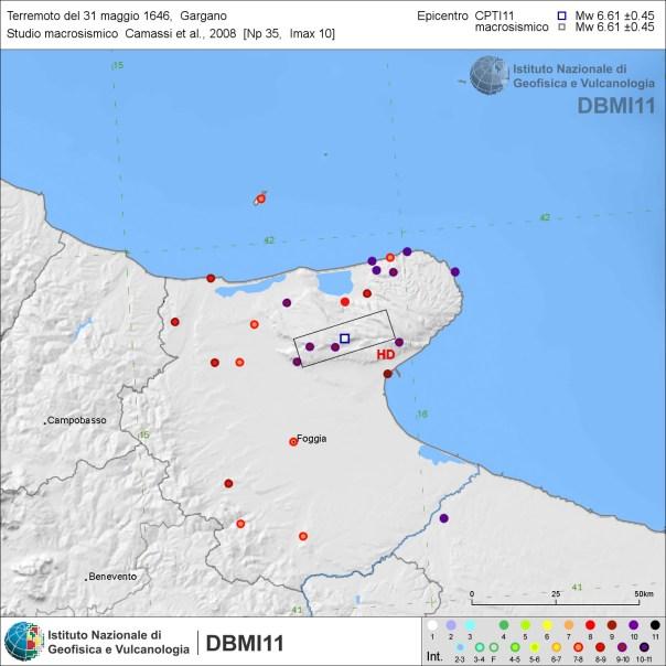 Figura 4: distribuzione degli effetti del terremoto del 31 maggio 1646 secondo lo studio di Camassi et al. (2008) [fonte: DBMI11 link].