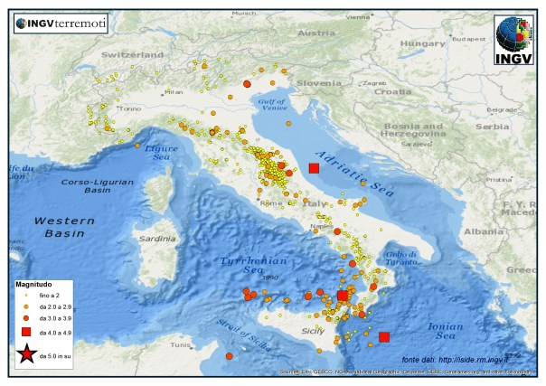 I terremoti del di maggio registrati dalla Rete Sismica Nazionale.