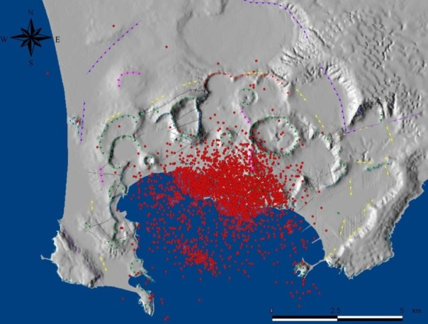 Distribuzione della sismicità dal 1982 al 2000.