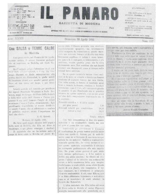 """Articolo della Gazzetta di Modena del 1893 dal titolo """"Una SALSA e TERRE CALDE in Medolla"""""""