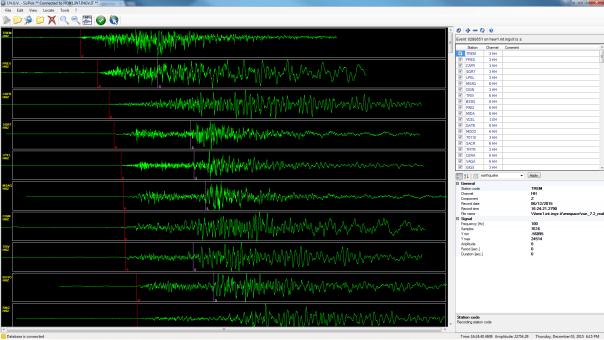 I segnali del terremoto di magnitudo Ml 4.3 avvenuto oggi alle ore 17.24 italiane.