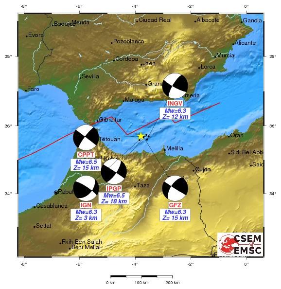 Localizzazione del terremoto di M 6.3 del 25 gennaio 2016 e meccanismi focali calcolati da diversi istituti di ricerca europei (tra cui l'INGV). La mappa è presa dal sito dell'EMSC-CSEM (Euro Mediterranean Seismological Center; http://www.emsc-csem.org/).