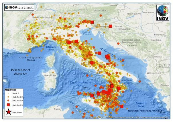 I terremoti localizzati dalla Rete Sismicia Nazionale dell'INGV nel''anno 2015 (fonte dati http://iside.rm.ingv.it)