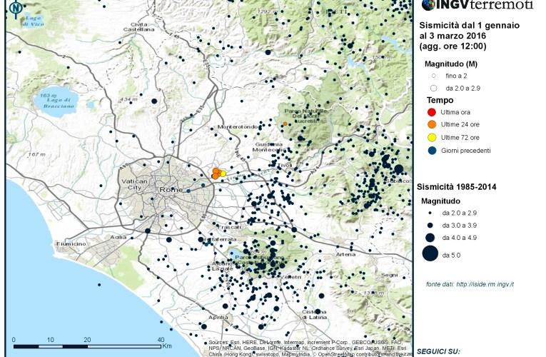 Sciame sismico in provincia di Roma: aggiornamento del 3 marzo 2016