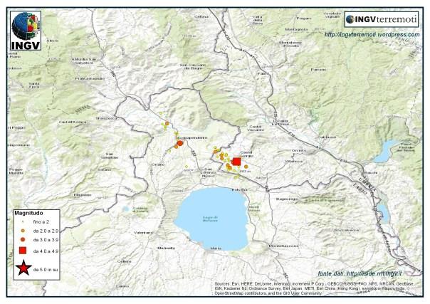 La sequenza sismica tra le province di Terni e Viterbo durante registrata negli ultimi giorni del mese di maggio.