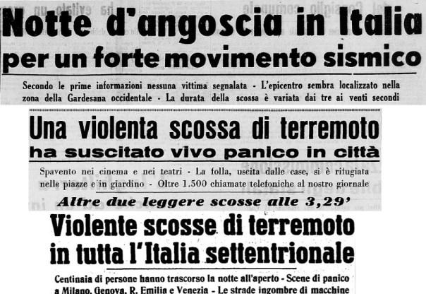 """Fig. 1 – Titoli di corrispondenze giornalistiche nel quotidiano locale cremonese """"La Provincia"""" del 16 maggio 1951 e dell'edizione nazionale dell'Unità del 16 maggio."""