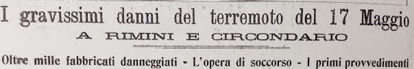 I titoli del resoconto del settimanale Corriere Riminese del 31 maggio 1916 sugli effetti della scossa del 17 maggio.