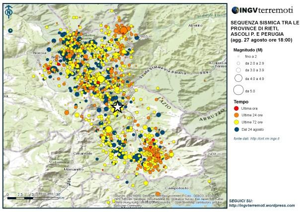 Mappa della sequenza sismica dal 24 agosto aggiornata alle ore 18:00 del 27 agosto. La stella rappresenta l'evento di mangnitudo 6.0 delle 3:32 del 24 agosto.
