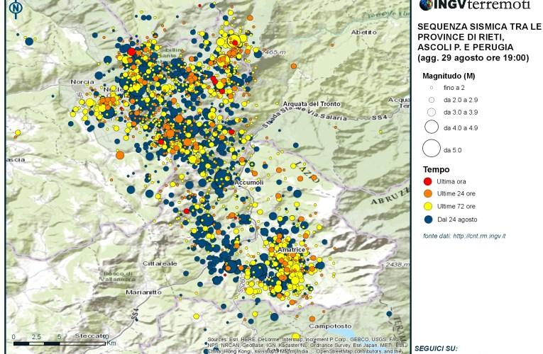 Sequenza sismica province di Rieti, Perugia, Ascoli P., L'Aquila e Teramo: aggiornamento ore 19.00 – 29 agosto