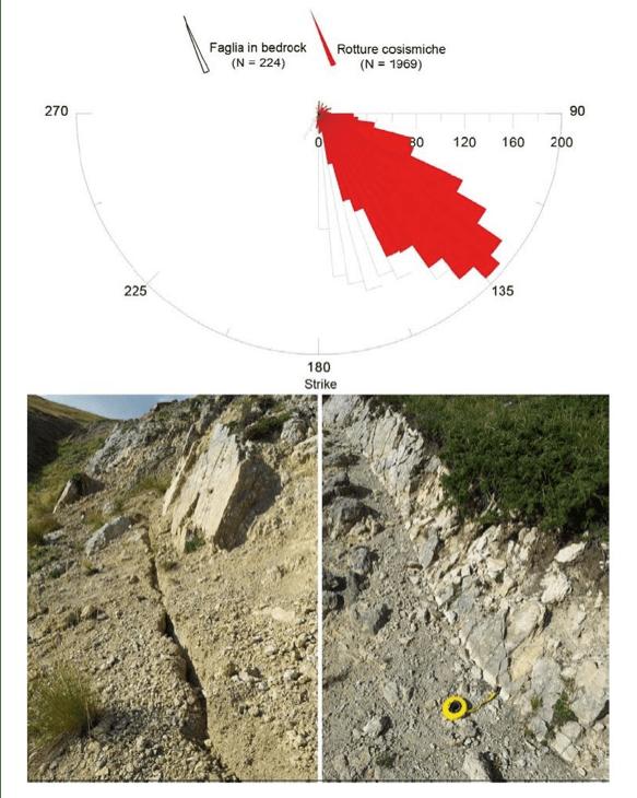 diagramma a rosa delle direzioni delle rotture cosismiche sui depositi non consolidati (in rosso) e lungo il piano di faglia in roccia del Monte Vettore e del Monte Vettoretto
