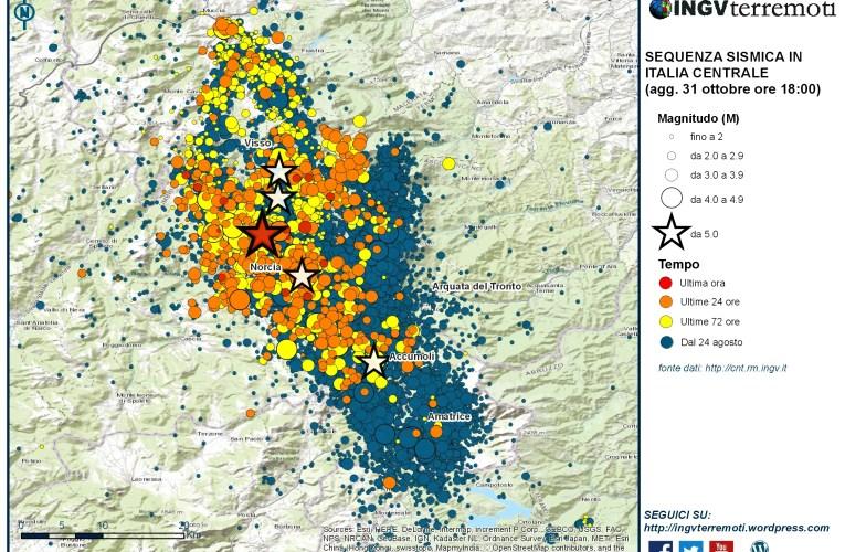 Sequenza sismica in Italia centrale: aggiornamento, 31 ottobre ore 18.00