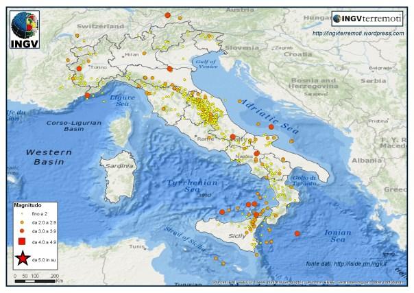 I terremoti localizzati dalla Rete Sismica Nazionale nel mese di luglio 2016.