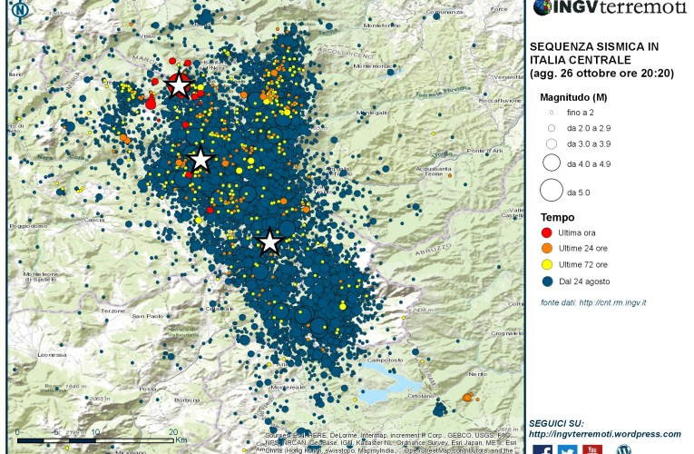 Sequenza sismica in Italia centrale: aggiornamento del 26 ottobre 2016, ore 20:20
