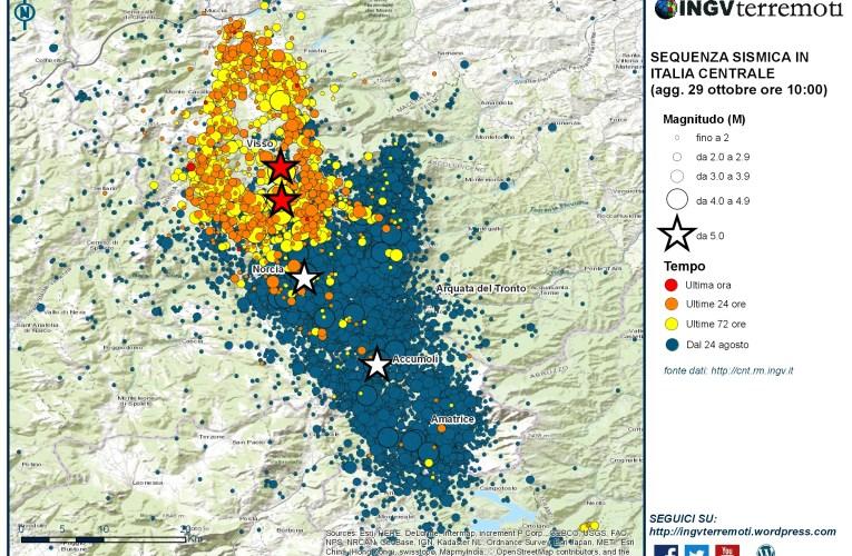 Sequenza sismica in Italia centrale: aggiornamento del 29 ottobre 2016, ore 10:00