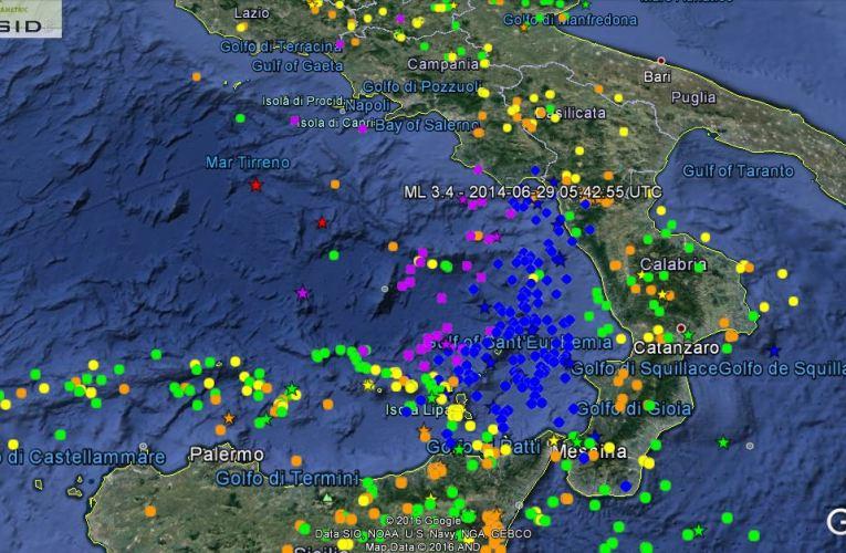 Terremoti profondi nel mar Tirreno, 28 e 29 ottobre 2016