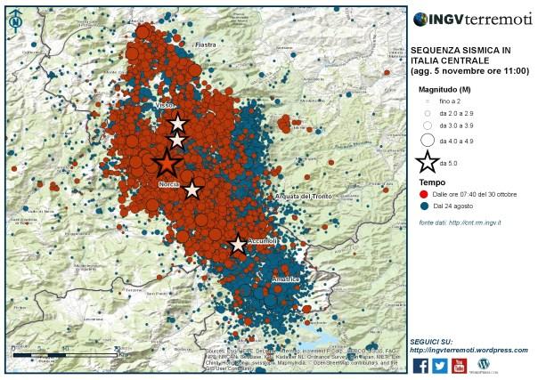 I terremoti registrati dalla Rete Sismica Nazionale dell'INGV dal 24 agosto: in rosso gli eventi registrati dopo il 30 ottobre alle ore 07:40.