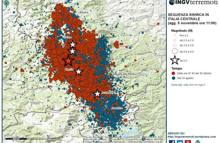 Sequenza sismica in Italia centrale: aggiornamento, 5 novembre ore 11.00
