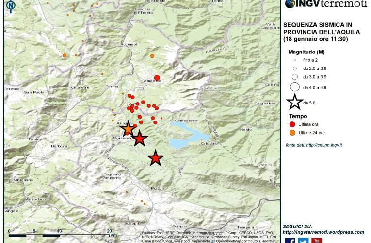 Aggiornamento eventi sismici in provincia dell'Aquila,18 gennaio 2017