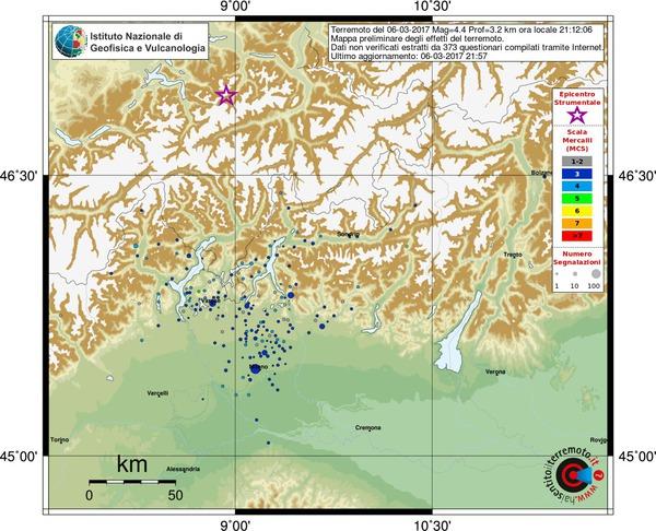 Evento sismico in Svizzera, M 4.4, 06 marzo 2017