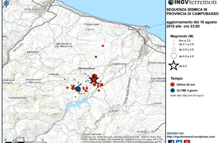 Aggiornamento sequenza sismica in provincia di Campobasso, 16 agosto 2018 ore 23:00
