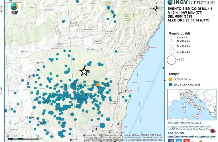 Evento sismico Ml 4.1 in provincia di Catania del 9 gennaio 2019