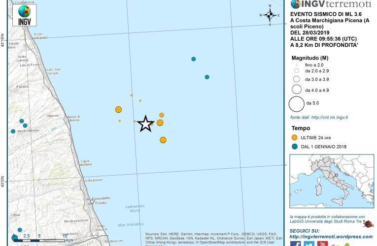 Evento sismico Ml 3.6 Costa Marchigiana Picena del 28 marzo 2019
