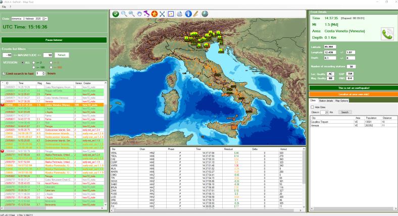 Mappa delle stazioni sismiche che hanno rilevato l'esplosione e area dell'epicentro identificato dai turnisti in sala sismica INGV