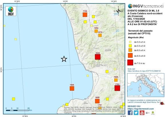 La sismicità storica nell'area dal Catalogo Parametrico dei Terremoti Italiani (CPTI15).