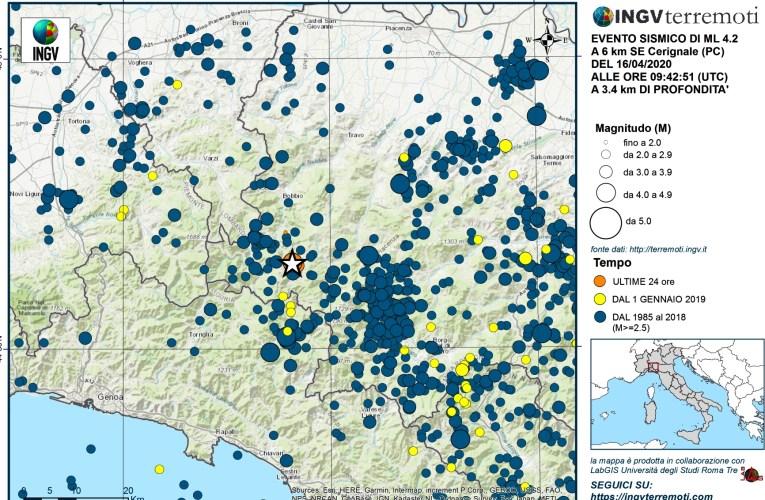 Terremoto di magnitudo 4.2 in provincia di Piacenza, 16 aprile 2020