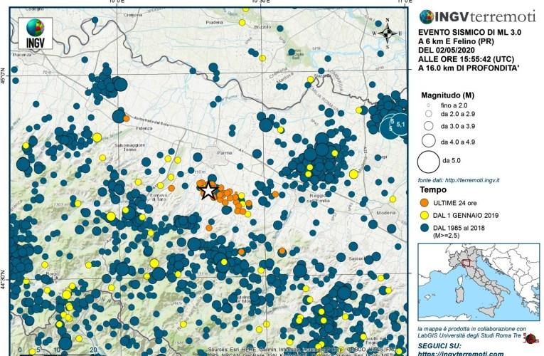 Sequenza sismica in provincia di Parma, 1-3 maggio 2020