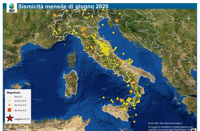 Le mappe mensili della sismicità, giugno 2020