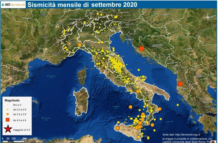 Le mappe mensili della sismicità, settembre 2020