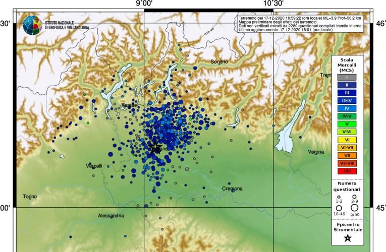 Evento sismico del 17 dicembre 2020, Ml 3.9, in provincia di Milano
