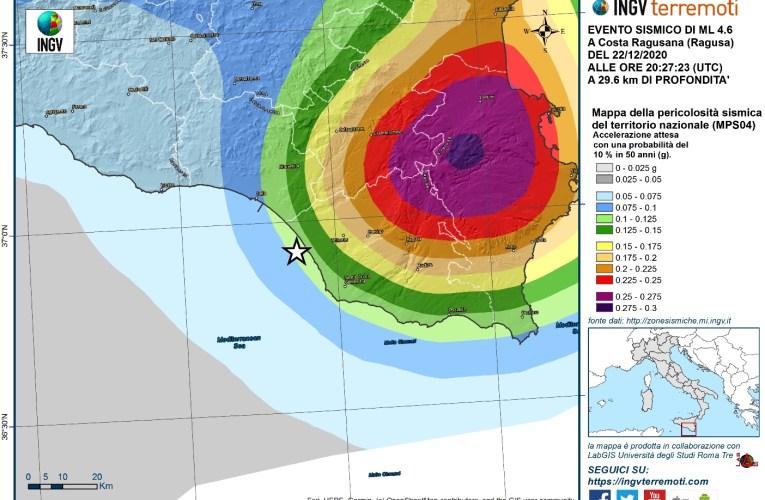 Evento sismico del 22 dicembre 2020, Ml 4.6 (Mw 4.4), al largo della costa ragusana