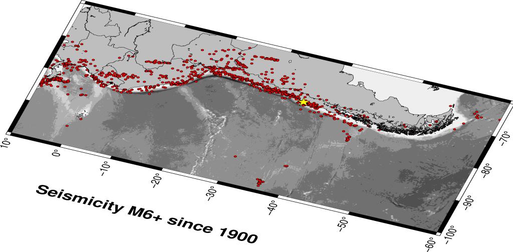 Epicentri dei terremoti di magnitudo pari o superiore a 6.0 in Sud America dal 1900