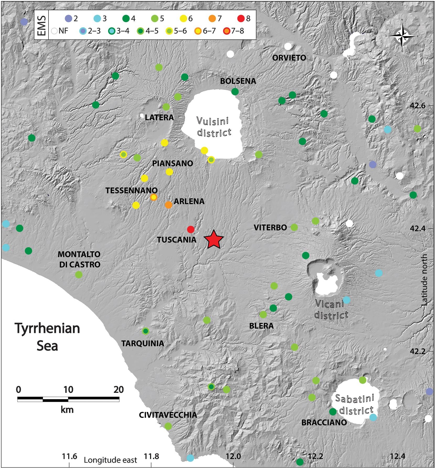 distribuzione danni terremoto tuscania 1971