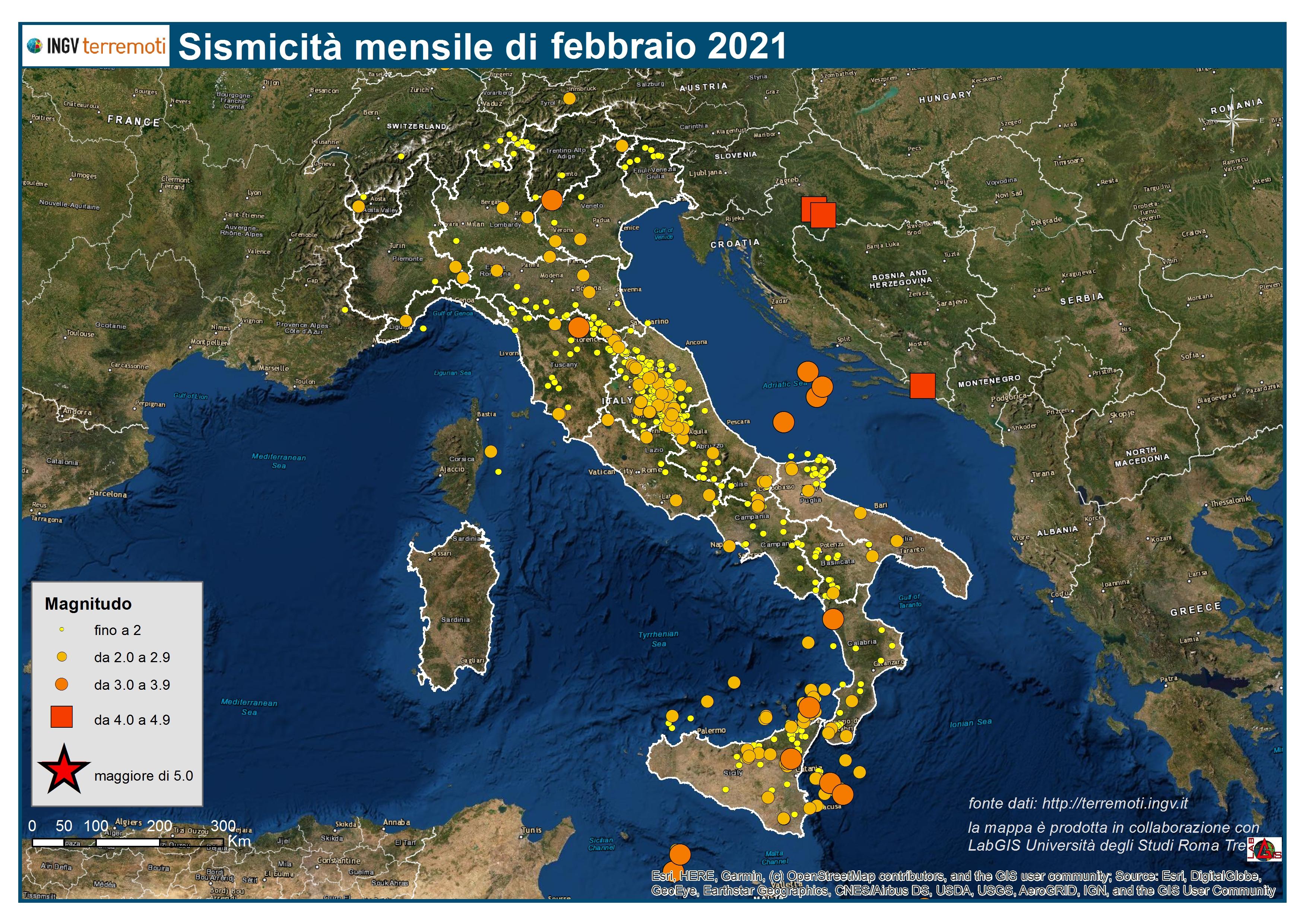 Mappa della sismicità di febbraio 2021