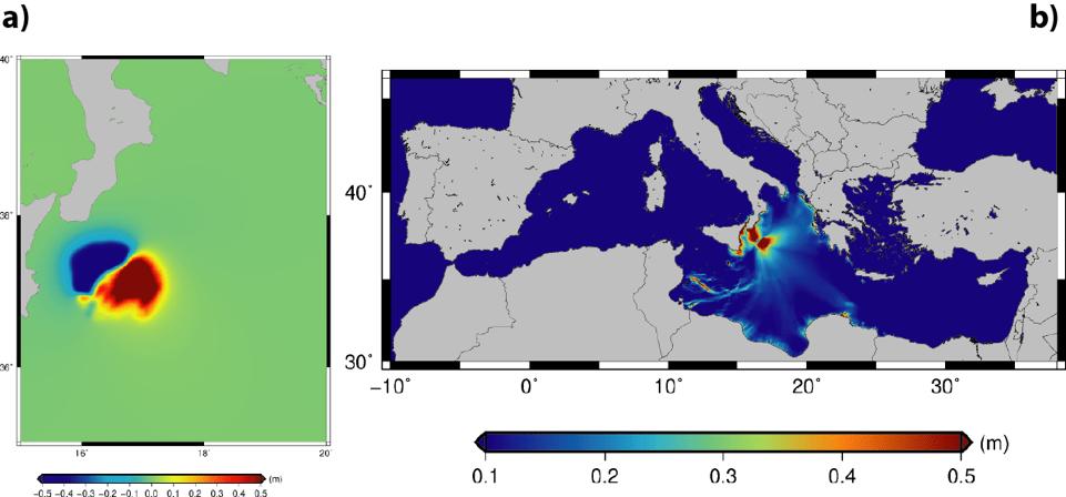 Terremoto e tsunami nel Mar Ionio: a) Campo iniziale dello tsunami indotto dal terremoto simulato (M7.9). b) Massima altezza stimata dello tsunami sulle coste del Mediterraneo