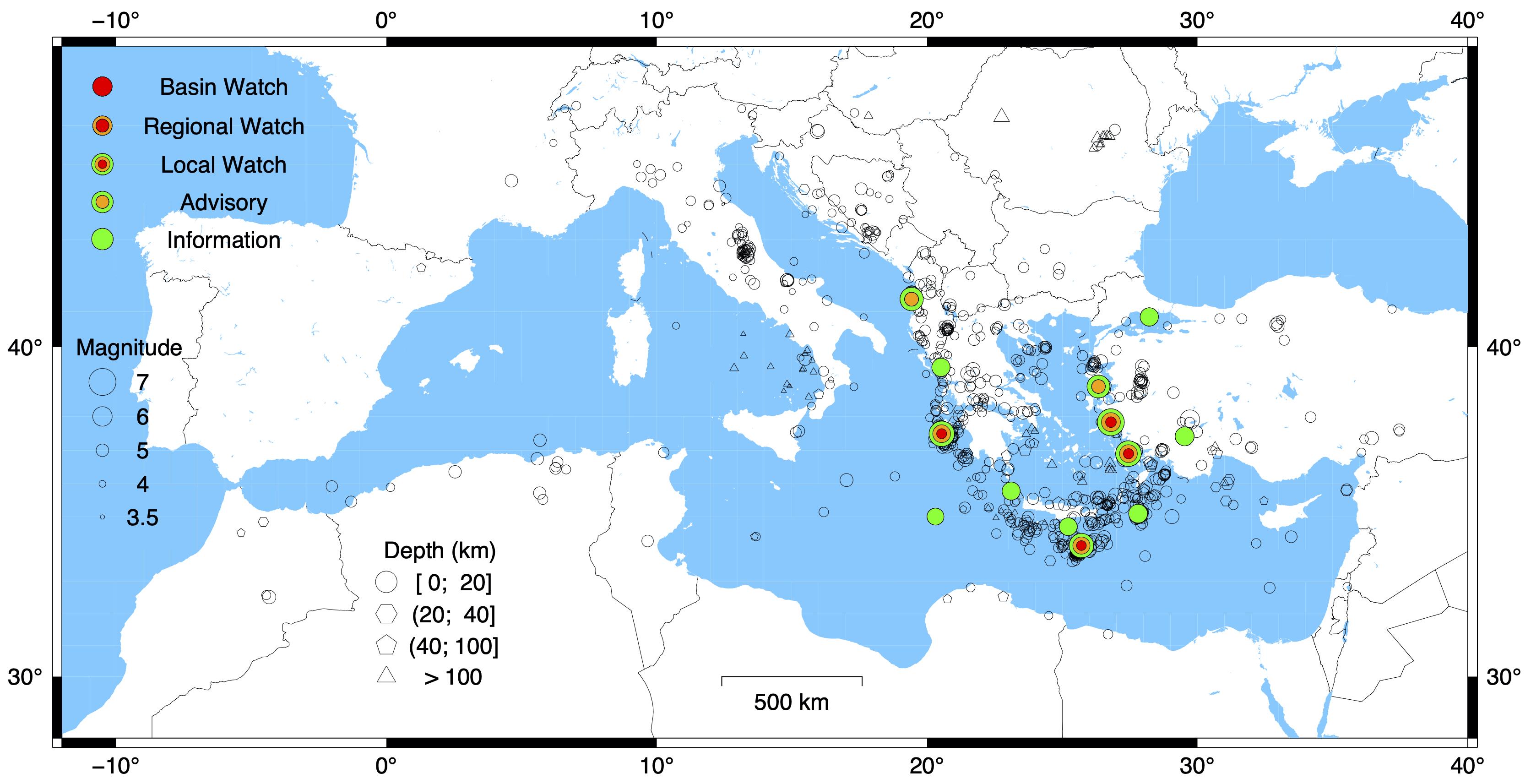 Epicentri dei terremoti del Mediterraneo dal 2017 al 2020 trattati nell'articolo di Amato et al. (2021). I simboli colorati indicano gli eventi sismici che hanno provocato l'attivazione del CAT, con vari gradi di severità (legenda a sinistra in mappa). Nel 2021 si sono verificati due eventi non presenti in mappa, uno al largo dell'Algeria (Advisory) e un altro nel Mare Adriatico, a largo della Croazia (Information).