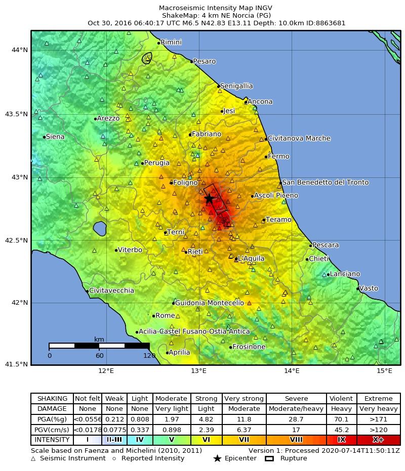 ShakeMap in intensità macrosismica del terremoto del 30 ottobre 2016, M 6.5.