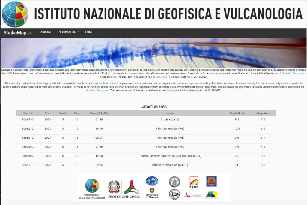 Homepage del nuovo sito delle ShakeMaps (http://shakemap.ingv.it).