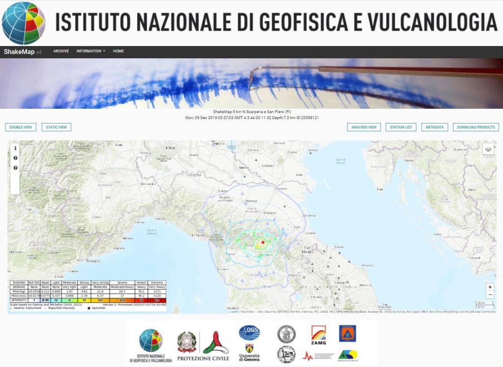 Esempio della mappa dinamica per il terremoto di magnitudo M 4.5 del 9 dicembre 2019 avvenuto in provincia di Firenze.