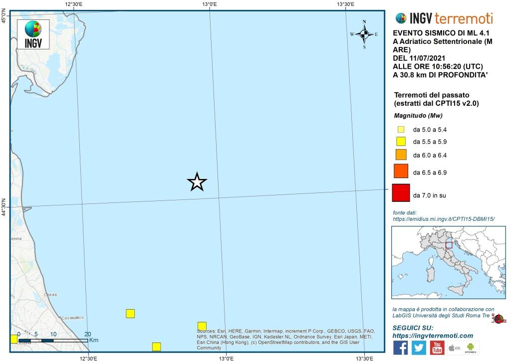 Terremoto di 4.1 in Mar Adriatico 11 Luglio 2021