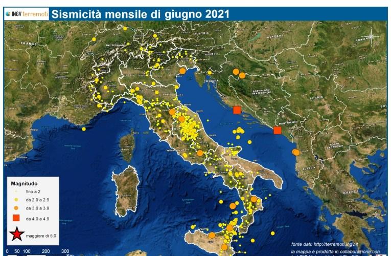 Le mappe mensili della sismicità, giugno 2021